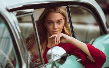 рука, машина, взгляд, рыжая, авто, лицо, веснушки, рыжеволосая