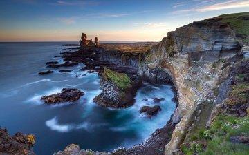 the sky, rocks, shore, sea, coast, open, iceland, nagarajan kanna, landranger, basalt cliffs