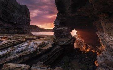небо, облака, скалы, берег, закат, море