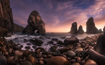 the sky, clouds, rocks, stones, shore, sea, surf