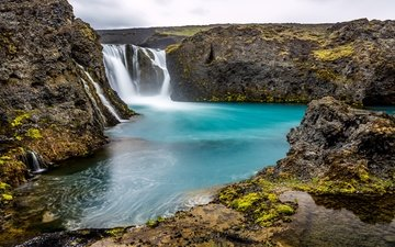 скалы, камни, водопад, исландия, sigoldufoss