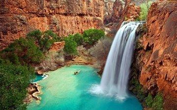 река, скалы, природа, пейзаж, водопад, каньон, сша, аризона, долина, овраг
