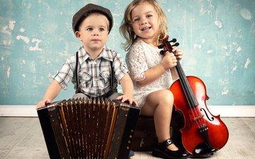 скрипка, музыка, дети, девочка, мальчик, инструменты, гармошка, виолончель, гармонь