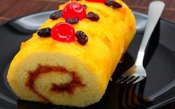berries, sweet, cakes, dessert, biscuit, roll