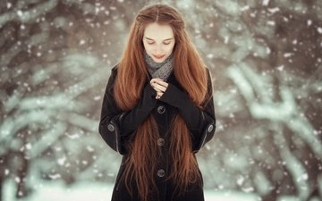 snow, nature, winter, girl, red, hands, coat, snowfall, closed eyes, long-haired