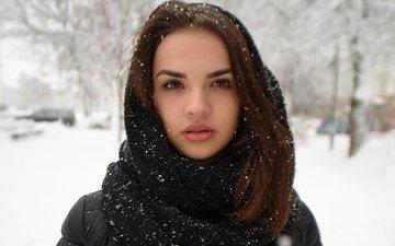 snow, winter, girl, portrait, brunette, look, model, face, jacket, shawl, scarf, anton pechkurov, nastya mihalinec