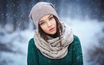 snow, winter, girl, brunette, hat, sweater, scarf, snowfall, angelina petrova