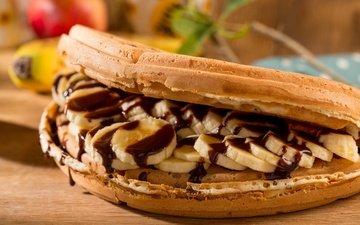 сладости, шоколад, выпечка, десерт, банан, вафли