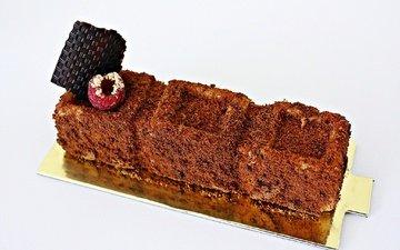 малина, шоколад, сладкое, торт, десерт, пирожное, крем