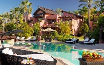 солнце, пальмы, бассейн, курорт, испания, вилла, шезлонги, канары