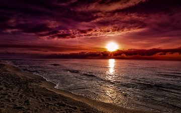 the sky, clouds, the sun, sunset, sand, beach, horizon, the ocean