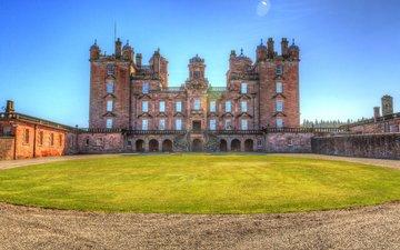 castle, uk, scotland, lawn, lock dramlanrig, drumlanrig castle