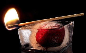 flame, berry, strawberry, fire, ice, black background, match