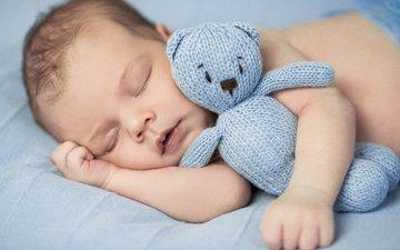 спит, мишка, игрушка, ребенок, младенец, закрытые глаза