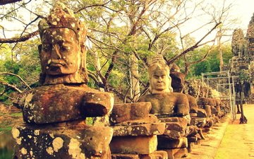 statues, cambodia, angkor wat, the temple complex