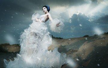 природа, стиль, девушка, модель, макияж, в белом, азиатка