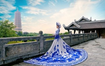 the sky, clouds, style, girl, background, dress, the city, lin van dinh
