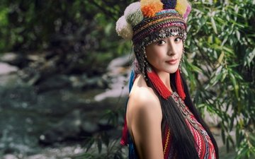 style, girl, look, model, face, headdress