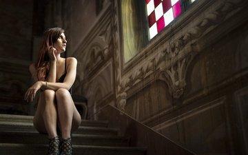 steps, girl, look, model, sitting, legs, hair, face