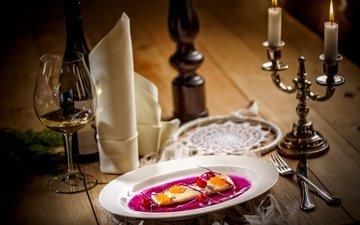 свечи, еда, бокал, вино, рыба, приборы, сервировка