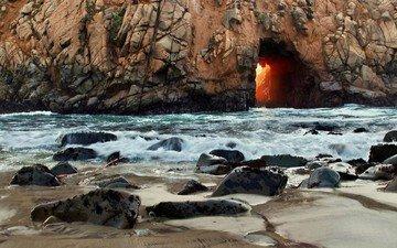 свет, камни, берег, волны, море, скала, сша, арка, калифорния, проем, pfeiffer state beach