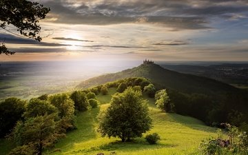 the sky, light, trees, the sun, morning, horizon, castle, hill