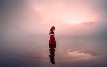 light, water, lake, wave, girl, morning, fog, red dress, lizzy gadd