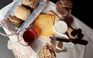 cheese, breakfast, cakes, blackberry, cake, buns, juice