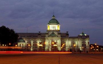 свет, ночь, фонари, тайланд, дворец, бангкок, ананда самакхом
