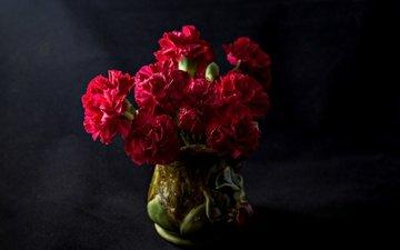 the dark background, bouquet, clove