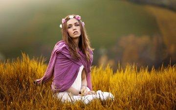 трава, девушка, настроение, взгляд, волосы, лицо, венок