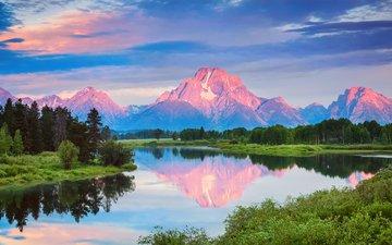 трава, облака, река, горы, снег, сша, вайоминг, гранд -титон национальный парк, национальный парк гранд-титон