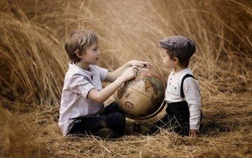 трава, поле, дети, глобус, мальчики