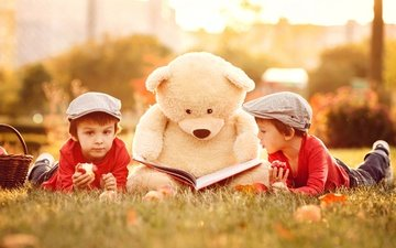 трава, природа, медведь, дети, игрушка, книга, мальчики