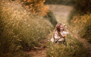 grass, nature, mood, track, look, children, joy, path, girl, mushroom, face, child, emotions