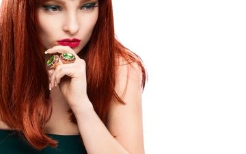 украшения, стиль, девушка, рыжая, модель, волосы, руки, кольца, макияж, прическа