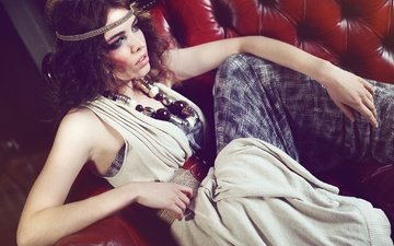 decoration, style, girl, pose, brunette, model, beads, sofa, curls, alessandro cirillo