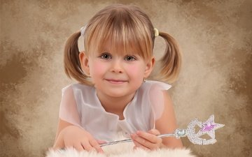 smile, look, girl, hair, face, magic wand