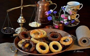 васильки, печенье, выпечка, натюрморт