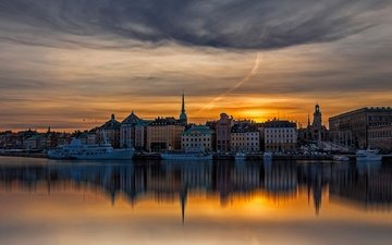 the evening, river, sunset, ships, home, promenade, sweden, boats, stockholm