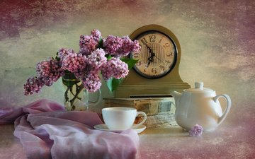 branches, books, watch, fabric, bouquet, cup, kettle, lilac, still life