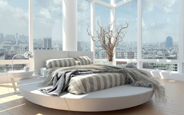 branches, room, windows, bed, vase, bedroom