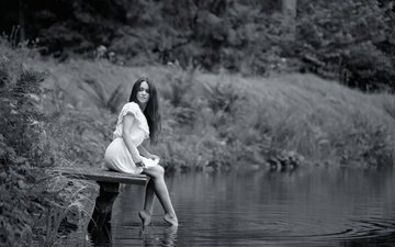 water, the bridge, girl, black and white, legs, irene, ivan borys, lviv