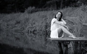 water, the bridge, girl, smile, black and white, legs, irene, ivan borys, lviv