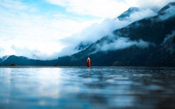 water, lake, mountains, girl, dress, fog, surface, lizzy gadd