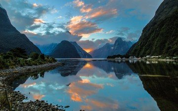 the sky, clouds, water, lake, mountains, nature, shore, landscape, sea, bay, new zealand, the fjord, milford sound