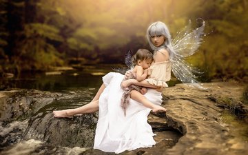 water, river, nature, stones, wings, child, mom, woman, mother, baby, feeding