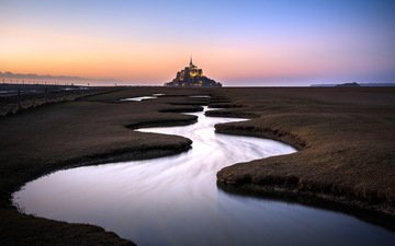 water, the evening, horizon, france, normandy, mont saint-michel