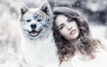 winter, girl, portrait, look, dog, model, hair, face, brown eyes, snowfall, wavy hair, alessandro di cicco