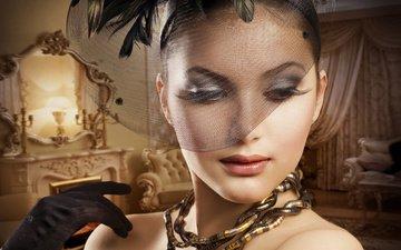 девушка, портрет, ретро, модель, лицо, макияж, перчатка, вуаль